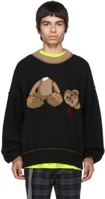 Palm Angels Black and Brown Kill The Bear Crewneck Sweater