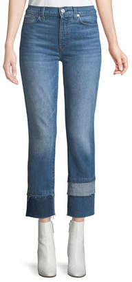 7 For All Mankind Edie Cropped Straight-Leg Jeans w/ Multi Fray Cuff