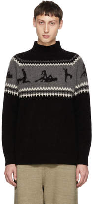 The Elder Statesman Black Cashmere The Fairest Isle Sweater