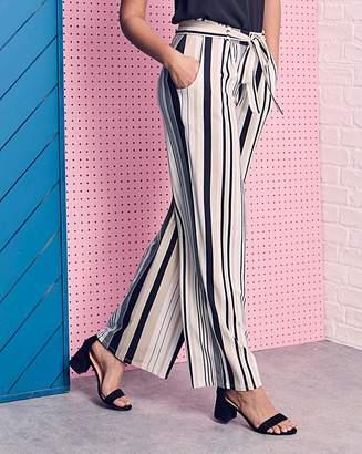 Fashion World Stripe Wide Leg Tie Waist Jersey Trouser