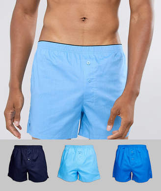 Asos DESIGN woven boxers in blues 3 pack