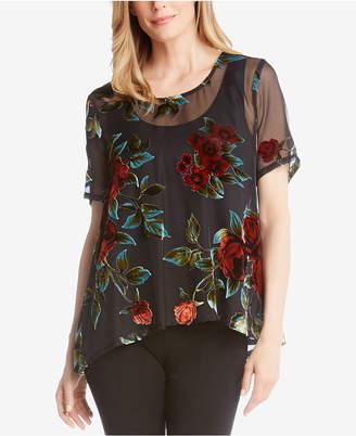 Karen Kane Sheer Velvet Short-Sleeve Blouse