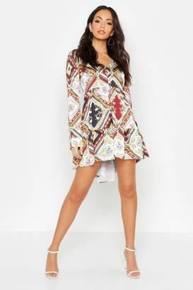boohoo Printed V Neck Tiered Smock Dress