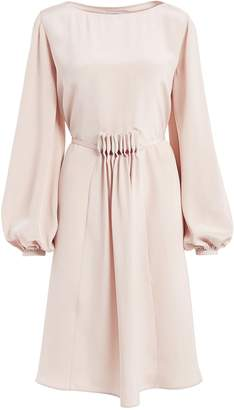 WtR - Katsina Cream Long Sleeve Knee Length Silk Dress