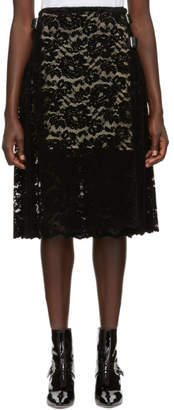 Christopher Kane Black Flock Lace Kilt Skirt
