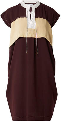 Carven Color-block Lace-up Crepe Dress - Burgundy