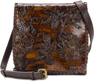 Patricia Nash Bark Leaves Granada Embossed Leather Crossbody
