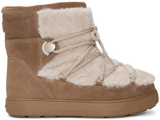 Moncler Brown Glitter Suede and Shearling Fanny Boots