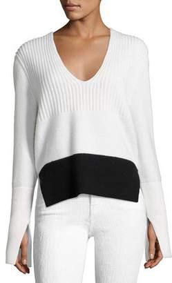 Narciso Rodriguez Mixed-Knit V-Neck Sweater, White/Black