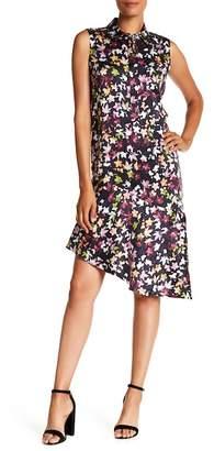 Equipment Point Collar Print Sleeveless Silk Dress