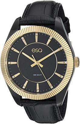 ESQ Men's 'Dress' Quartz Stainless Steel and Leather Casual Watch