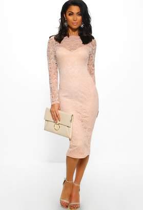 5b3bb45afc12d Pink Boutique Stay Tonight Pink Lace Long Sleeve Bardot Midi Dress