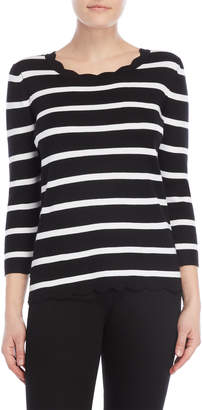 Cable & Gauge Black Stripe Scallop Sweater