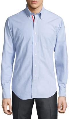 Thom Browne Long-Sleeve Cotton Oxford Shirt, Blue