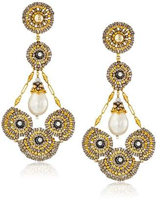 Miguel Ases 14k Gold-Filled and Freshwater Cultured Pearl Cluster Circle Earrings