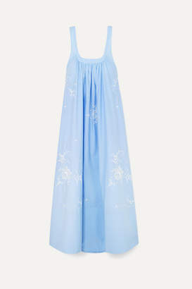 Stella McCartney Oversized Embroidered Cotton-poplin Maxi Dress - Blue