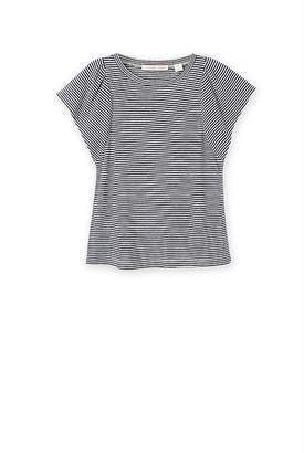 Country Road Linen Modal Stripe Ruffle T-Shirt