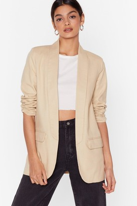 Nasty Gal Womens Keep Out Of It Linen Blazer - White - M, White