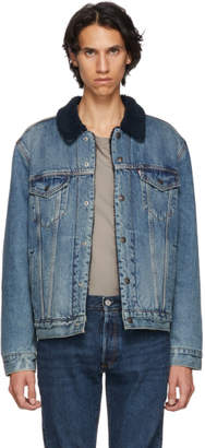 Levi's Levis Indigo Type 3 Sherpa Trucker Denim Jacket