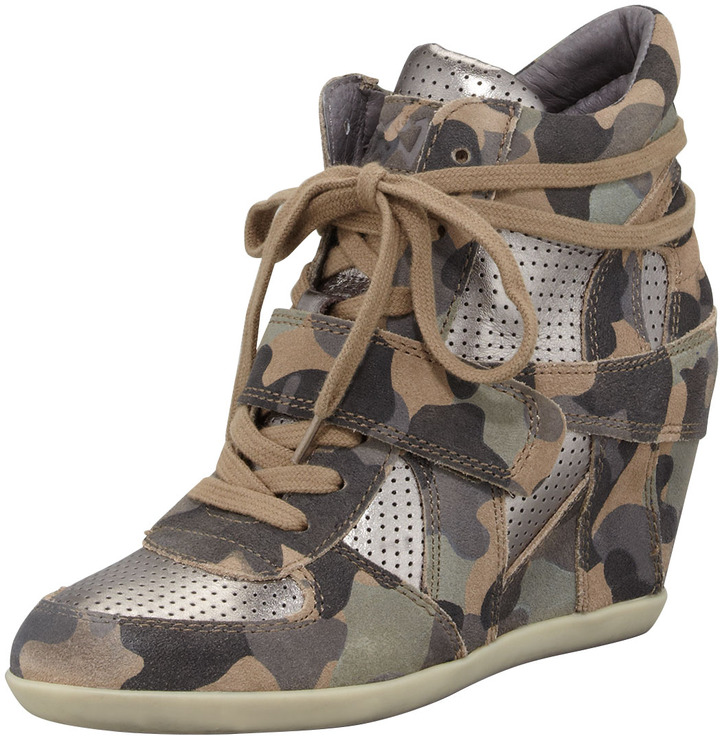 Ash Bowie Camouflage-Print Wedge