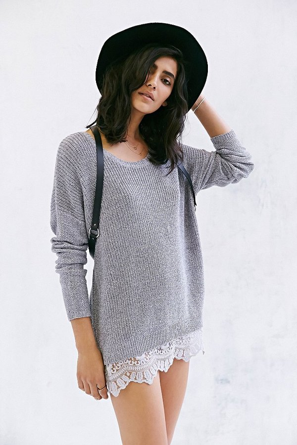 Urban Outfitters Pins And Needles Lace-Trim Sweater