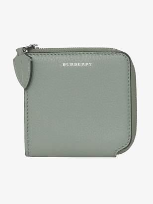 Burberry Grainy Leather Square Ziparound Wallet