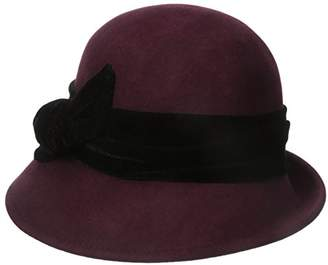 Scala Women's Wool Felt Cloche with Velvet Bow