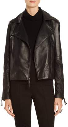 St. John Luxe Nappa Leather Moto Jacket