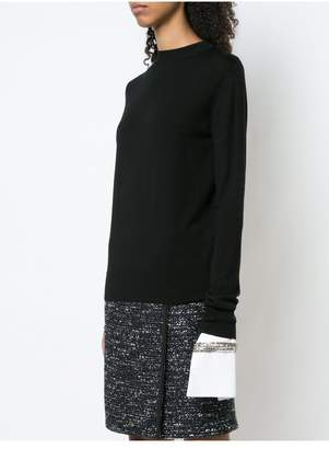 ADAM by Adam Lippes Merino Wool Crewneck Sweater With Detachable Embroidered Cuff