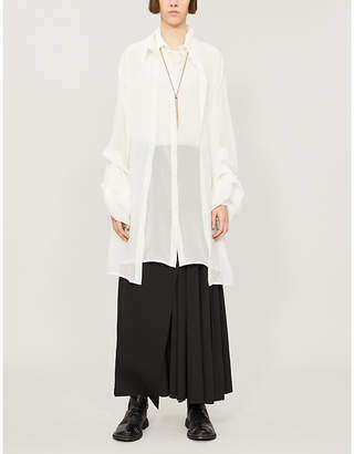 Isabel Benenato Layered semi-sheer silk-crepe shirt