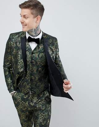 Asos Edition EDITION Skinny Double Breasted Tuxedo Suit Jacket In Green Floral Jacquard