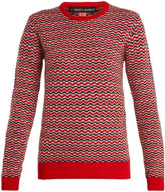 PERFECT MOMENT Frequency zigzag-intarsia wool-knit sweater