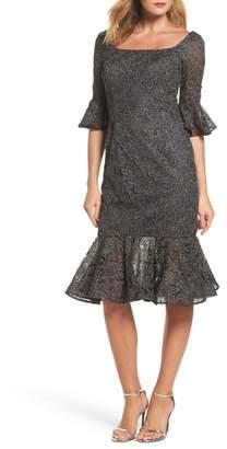 La Femme Mermaid Hem Embroidered Mesh Sheath Dress