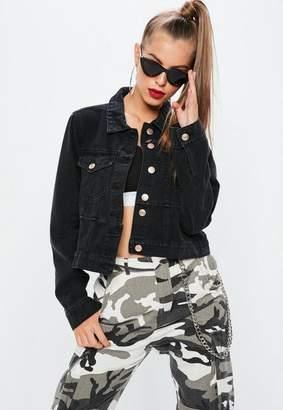 Missguided Tall Black Cut and Sew Denim Jacket