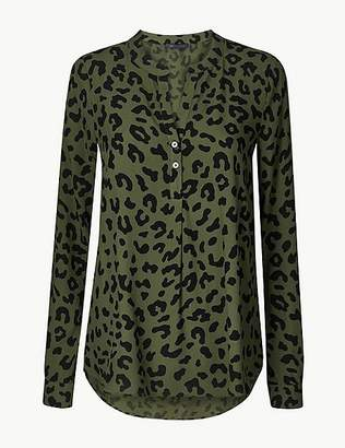 Marks and Spencer Animal Print V-Neck Long Sleeve Blouse