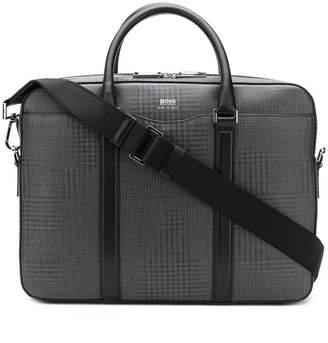 HUGO BOSS check print laptop bag