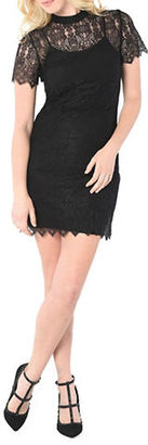 Kensie Short Sleeve Dainty Lace Sheath Dress $99 thestylecure.com