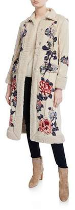 Johnny Was Swergi Floral Embroidered Button-Front Sherpa Coat