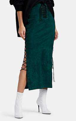 Taverniti So Ben Unravel Project Women's Suede Lace-Up Skirt - Green