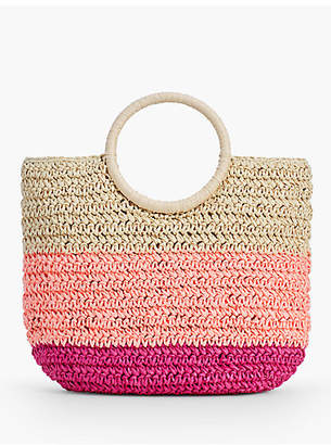 Talbots Crochet Straw Circle-Handled Tote