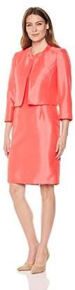 Le Suit Women's Plus Size Shiny Fly Away Jacket with Sheath Dress