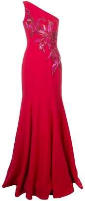 Marchesa one shoulder long dress
