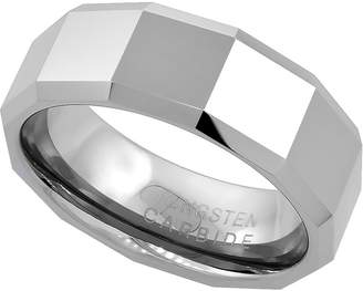 Sabrina Silver 8mm Tungsten 900 Wedding Ring Faceted Large Square Patterns Beveled Edges Comfort fit, size 8
