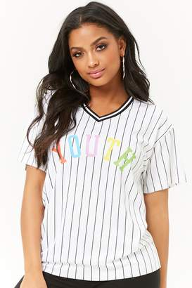 Forever 21 Striped Youth Graphic Jersey Mesh Tee