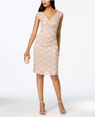 Connected V-Neck Sequined Lace Dress