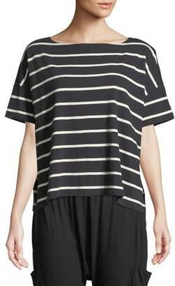 Eileen Fisher Slubby Organic Cotton Striped Box Top, Petite