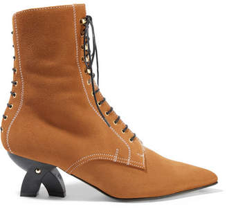 Shearling-lined Suede Ankle Boots - Light brown