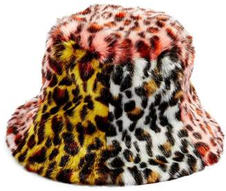 Topshop Mixed Animal Print Faux Fur Bucket Hat