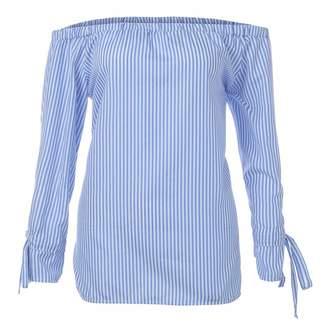 SamMoSon Women's Henleys, Hoodies for Teen Girls, Womens Fashion Long Sleeve Blouse Stripe Print Sexy Shirts Off Shoulder Tops (, XXL)