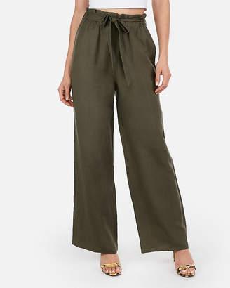 Express High Waisted Linen-Blend Tie Waist Wide Leg Pant